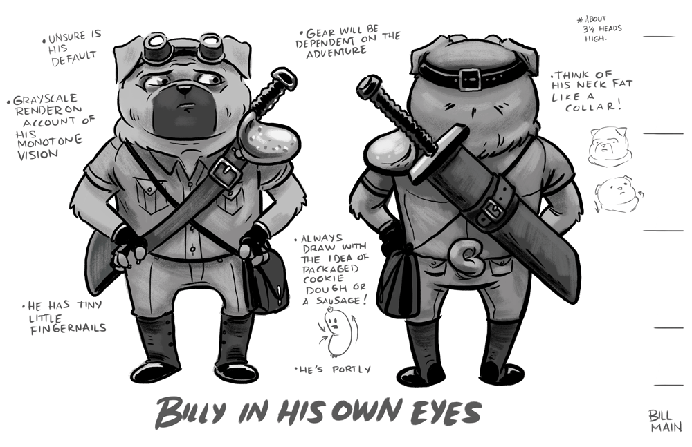 Early concept for Billy with notes.