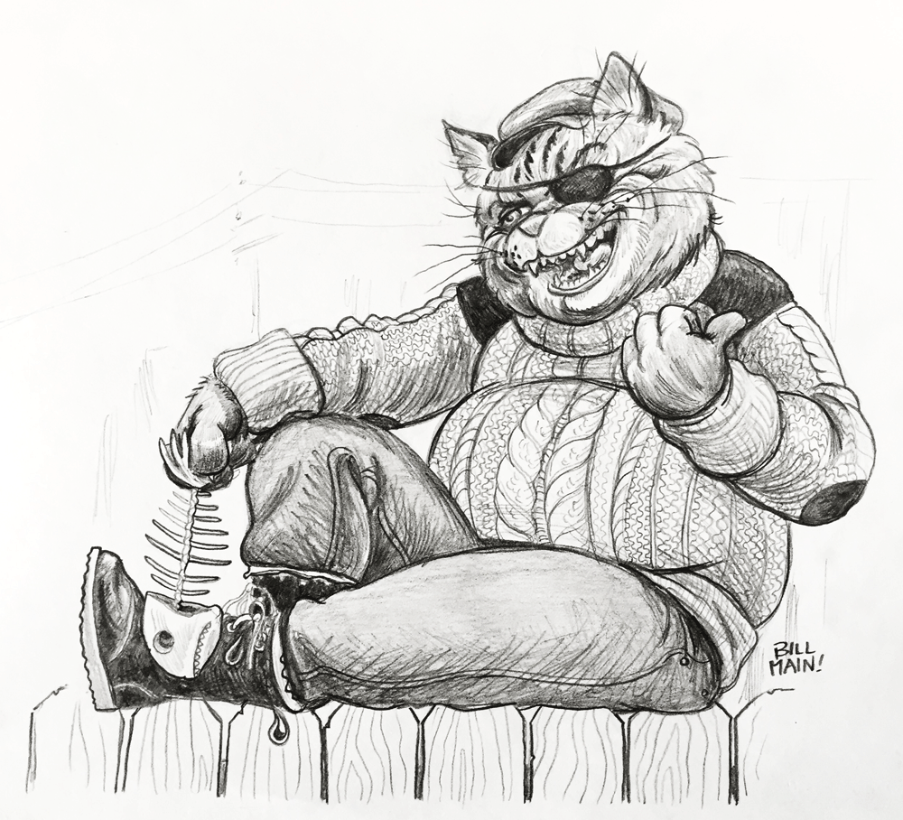 Character design for a roughneck Alley Cat who always offers his opinion, especially when it's unwanted.