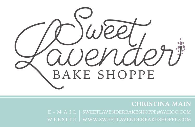 Logo and Business Card Layout for Sweet Lavender Bake Shoppe