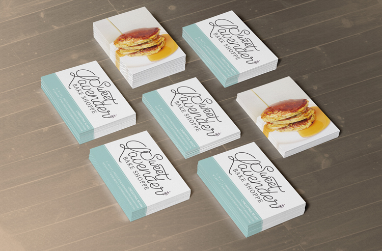 Business Card mockup for Sweet Lavender Bake Shoppe