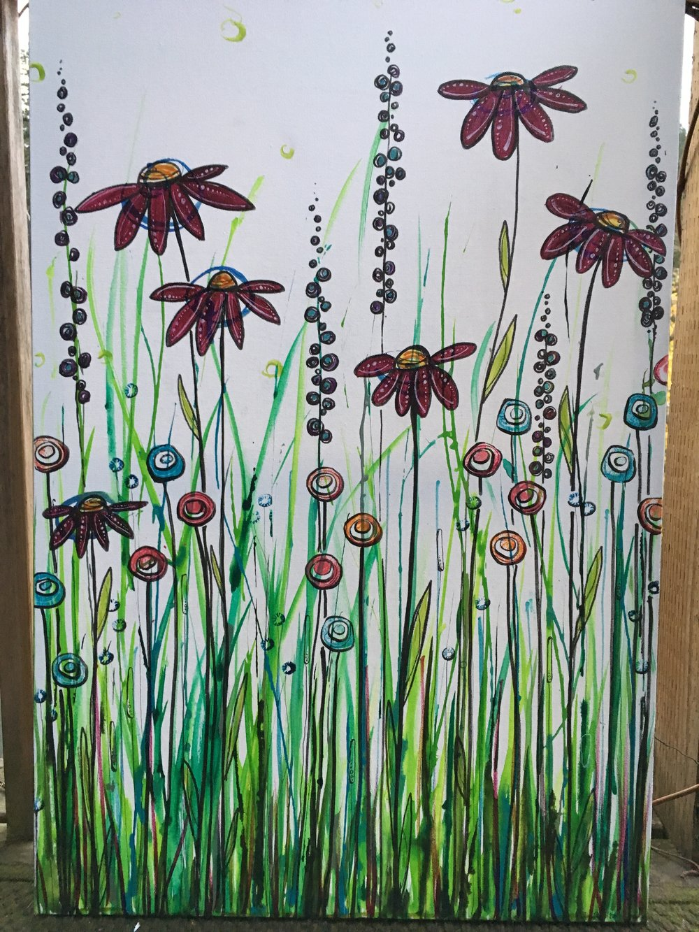 "Red Daisy   24"" x 36"" on Gallery Canvas  $375"