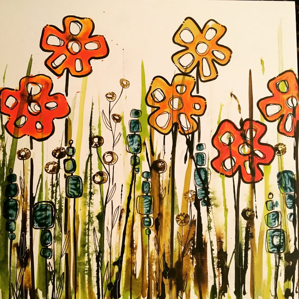 "Fall Bloom  12"" x 12"" on 1-1/2"" deep cradle board $175  SOLD"