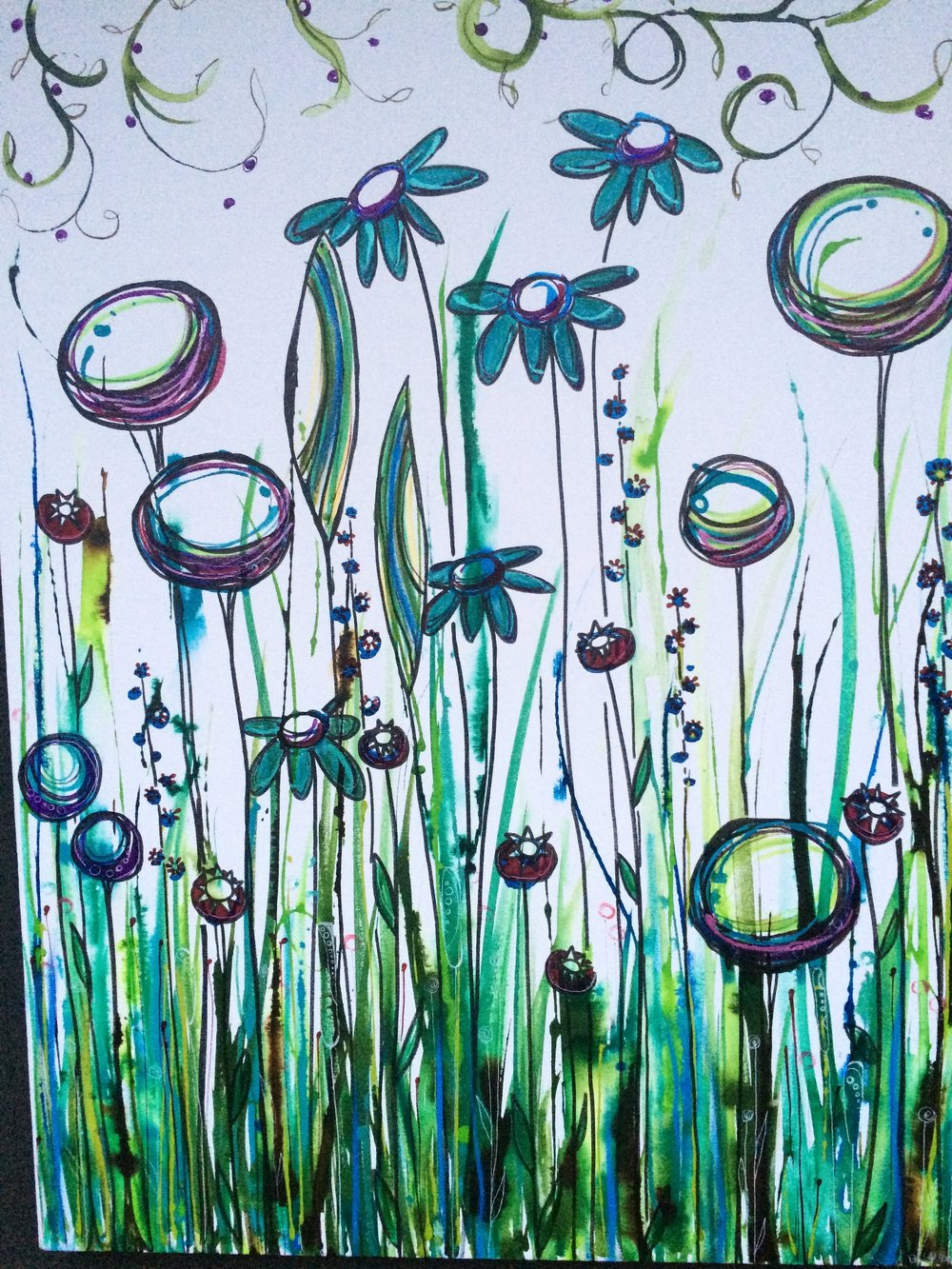 "Blue Flowers 24"" x 36"" on canvas $375  SOLD"