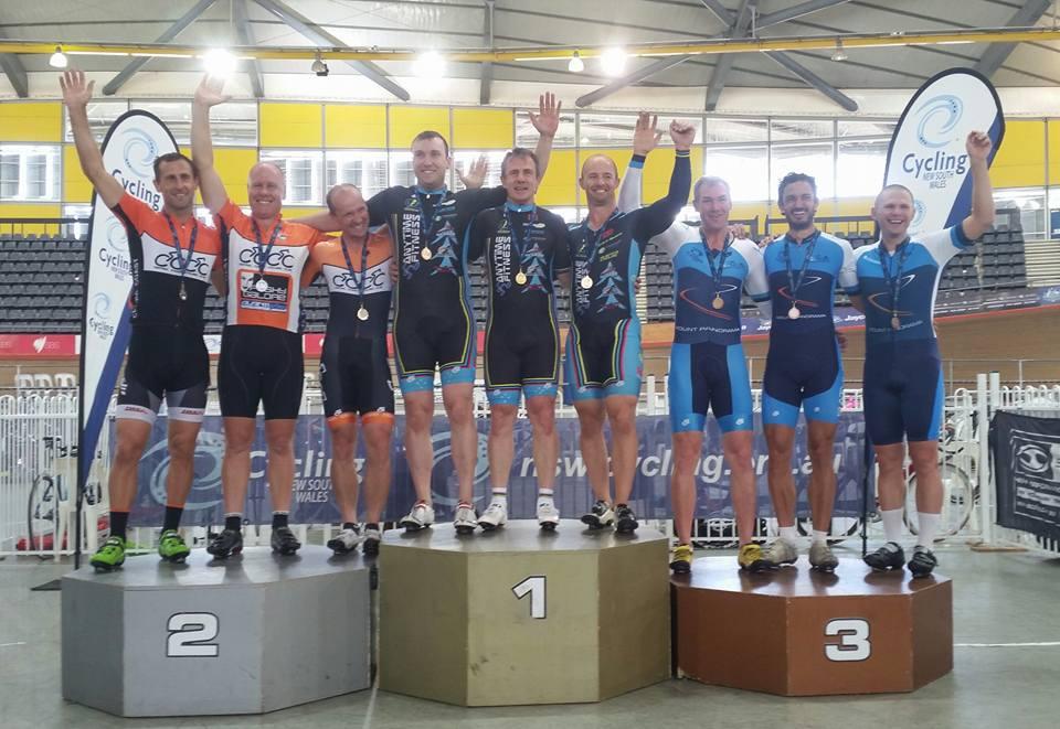 Team Sprint podium - Rod Chaplin, David Willmott, Mike Smith