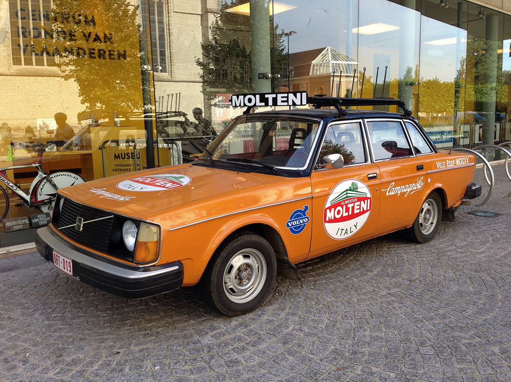 Eddy Merckx Molteni Volvo sits permanently outside the Tour of Flanders Museum in Oudenaarde