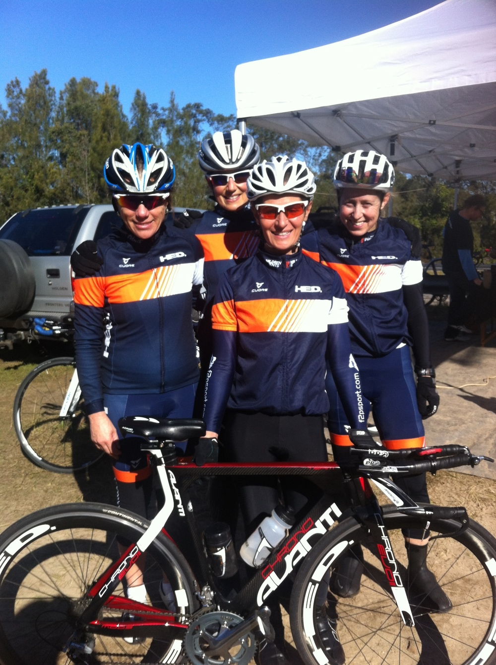 BiciSport - Mildren Events Womens Team  for the Nowra TTT Championships on 16 July with from left to right Frances Edwards, Kylie Mildren, Cecile Beams and Penny Kee