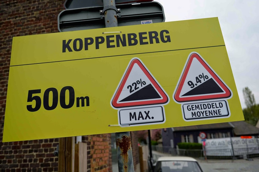 The Koppenberg has an average of 9.4% with a maximum of 22%. Lets not talk about the road surface ...