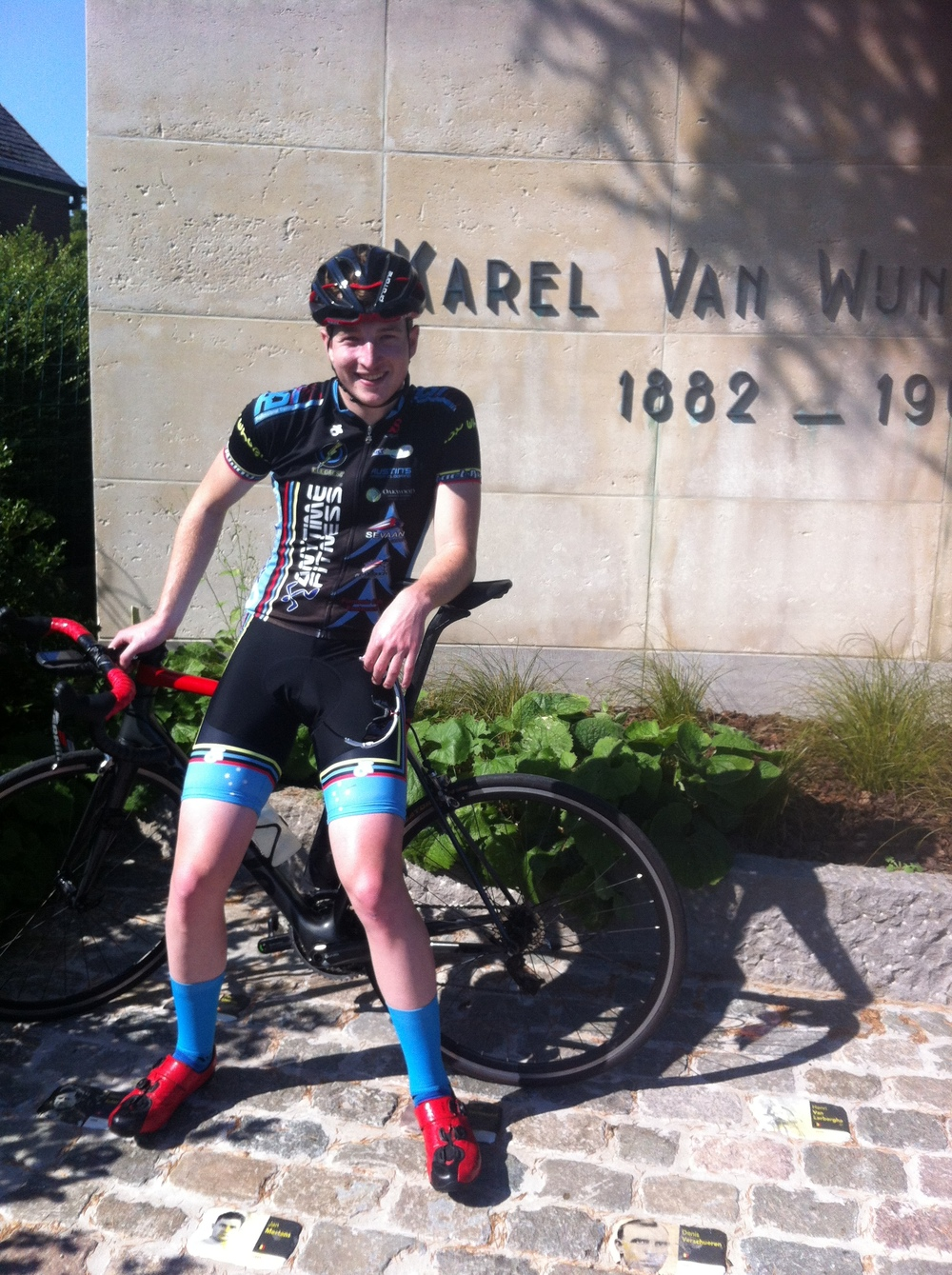 Karel Van Wijndeale Monument at the top of the Old Kwaremont climb (note every winner has a cobble)