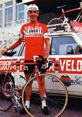 Herman Van Springel in front of a Volvo