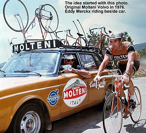 The only thing that saved the Volvo from the recycling bin was that is was attached to the greatest cyclist of all time.  An Italian sponsor, a Belgian team and a Swedish car with a dark brown colour scheme. Somehow it worked.