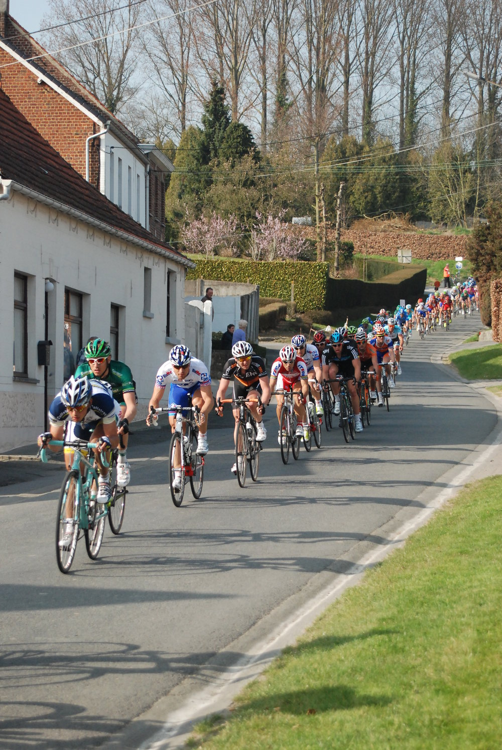 Belgium - E3 Grand Prix passes the front door of the Kokerelle B&B on the Eikenberg descent.