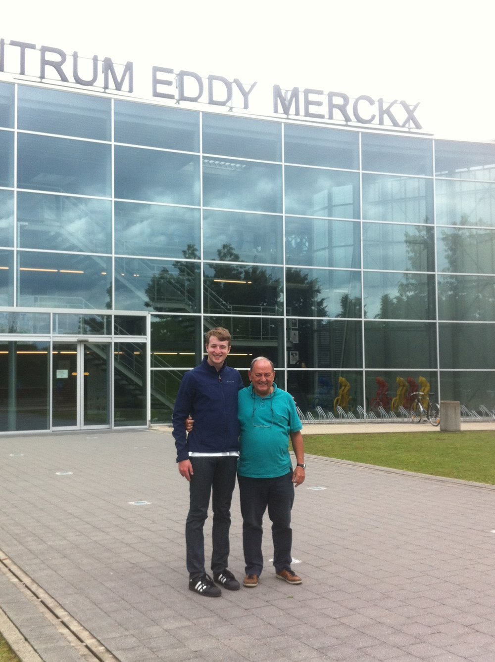 Conor Tarlington (BiciSport) with Eddy Verbust at the Eddy Merckx Velodrome in Ghent