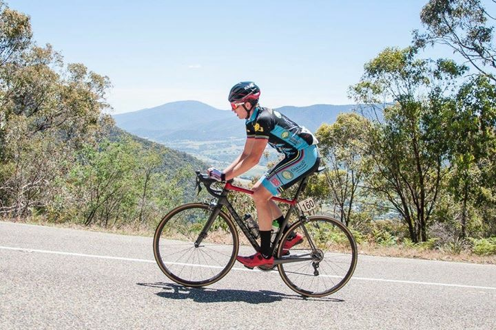 Conor Tarlington climbing Tawonga Gap during ToB 2016