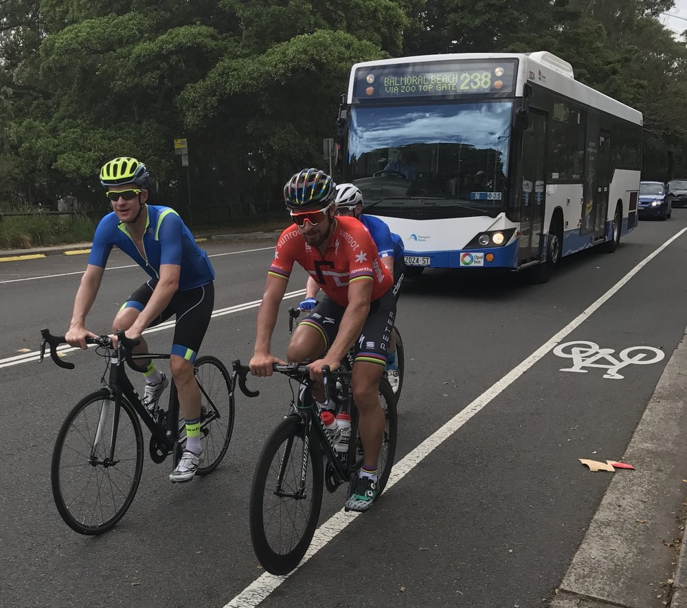 Mick Rogers & Peter Sagan (with a Sydney bus for company to just prove this all wasn't some crazy NYE wine infused dream) on the Col Del La Taronga Park Zoo climb. Rumour has it he was also spotted at Palm Beach the day before.