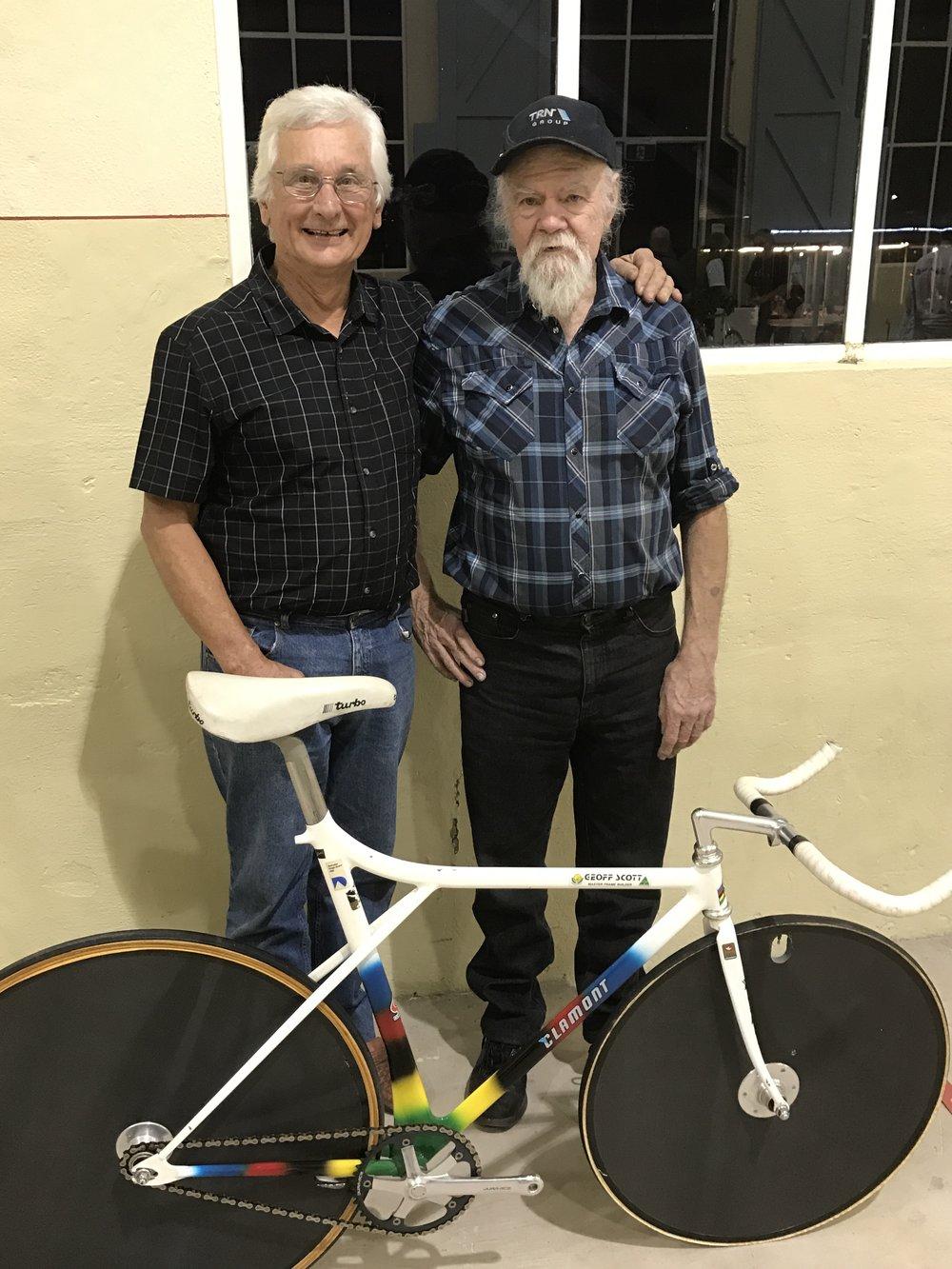 John Crouchley (BiciSport) with Geoff Scott & the Martin Vinnicombe Championship winning track bike. John Crouchley was the coach of Martin Vinnicombe .
