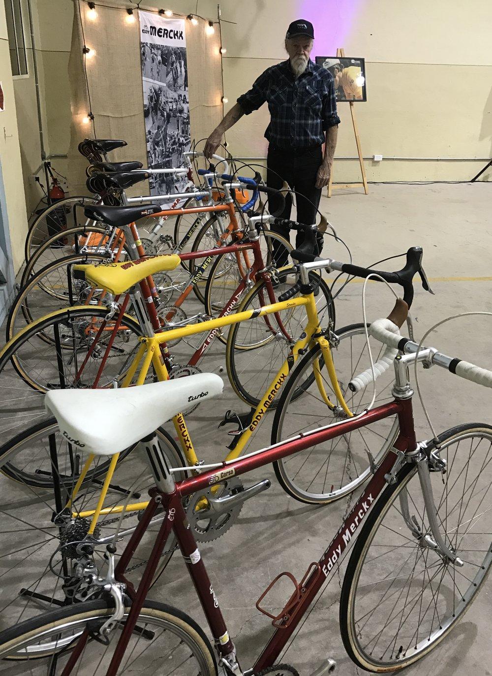 Geoff Scott with a range of Eddy Merckx classics