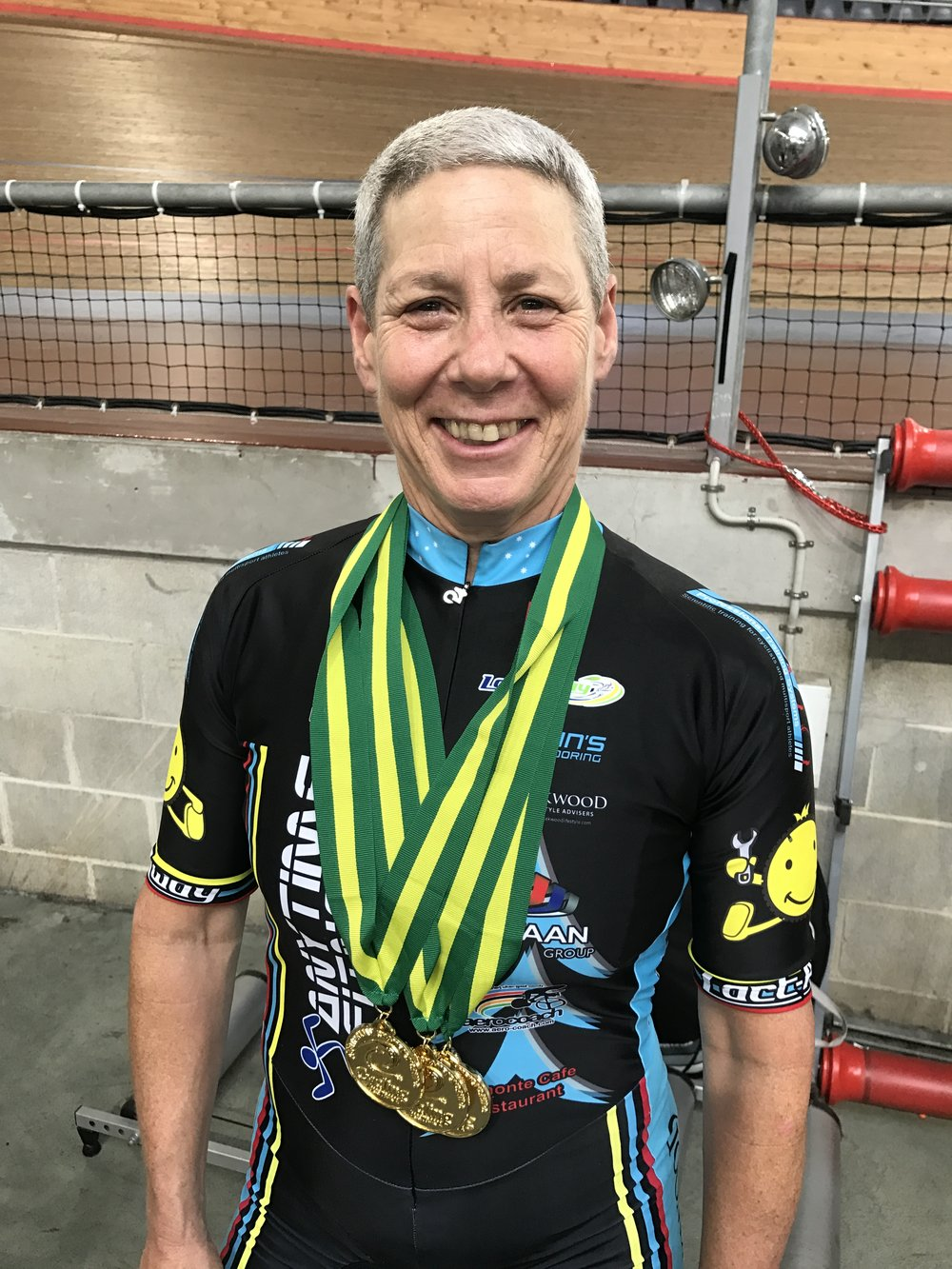 National Masters Track 2017 -Lise Benjamin took 4 Gold medals (Sprint, ITT, Scratch, Teams Pursuit) plus awarded the W7 Champion of Champions & 2 World Records