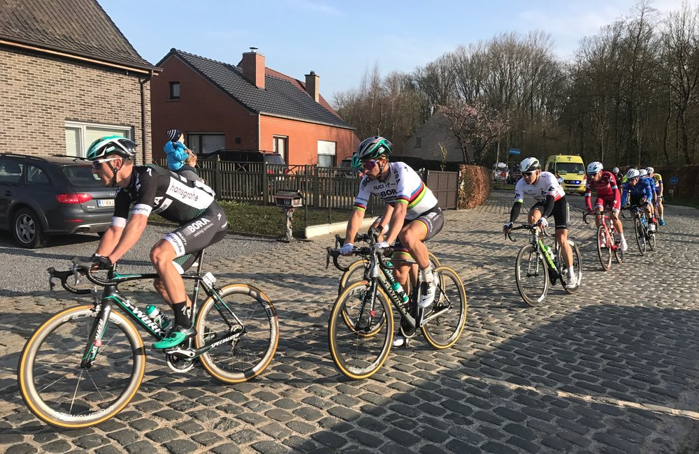 E3 Harelbeke 17 - Peter Sagan on the Avelgem cobbles heading for the finish