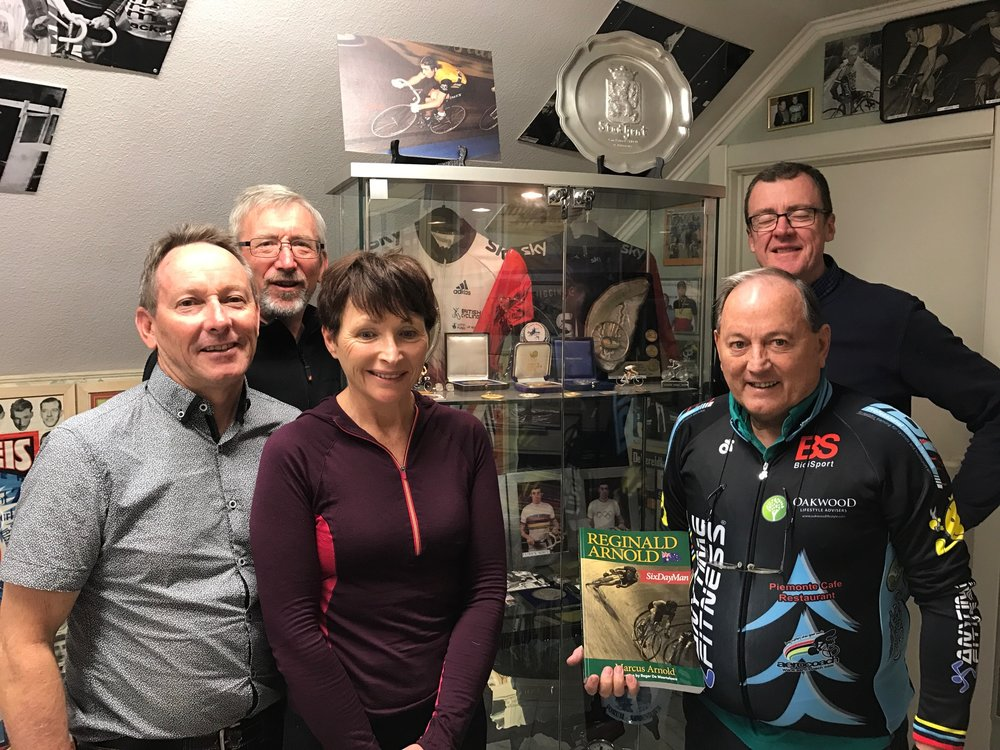 Eddy Verbust Museum 17 - Nigel Perry, Graham Tierney, Sue Tierney, Eddy Verbust & Ian Masson alongside the Patrick Sercu medal collection from various Olympic & World Championships