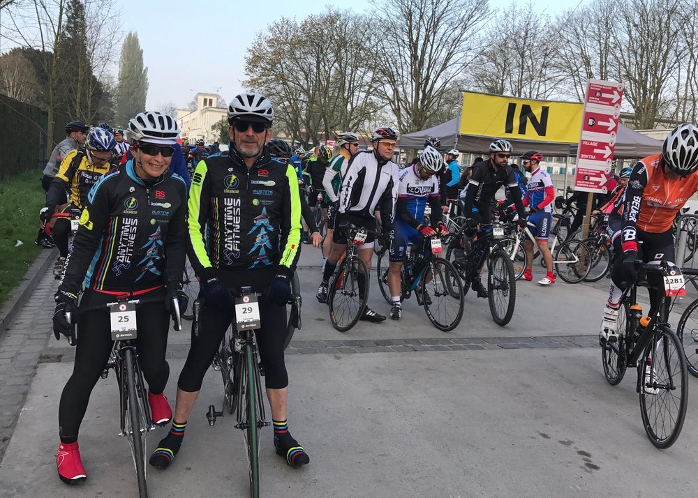 Paris Roubaix Cyclosportive 2017  -  Sue & Graham Tierney at the Roubaix Velodrome start.