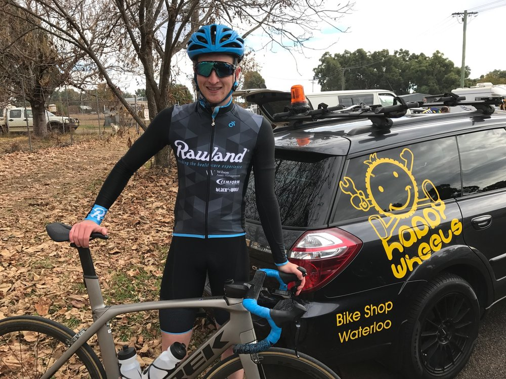 Coonabarabran Gunnedah 17 - Conor Tarlington before the start in a chilly Coonabarabran