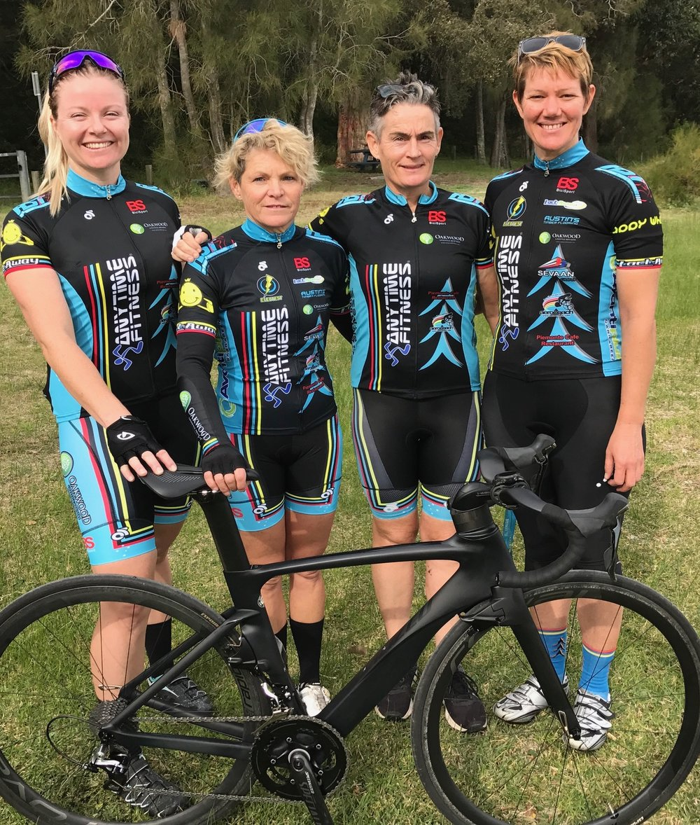 Nowra 17 - BiciSport Womens TTT team for the Nowra State Championships on 8 July includes Amber Walsh, Su Preeto, Kirsty Flanagan & Ruth Strapp