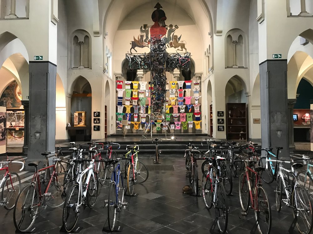 Roeselare Cycling Museum 17 - The main display featured numerous historical bikes & jerseys