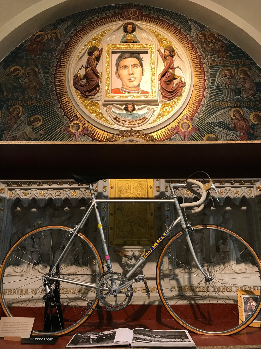 Roeselare Cycling Museum 17 - the Eddy Merckx display featured his 1978 racing bike in the C&A professional team colours. The items on display in the Fathers Church are only a small portion of what will be on display at the new museum when it opens in March 2018. The Dwars Vlaanderen (Across Flanders) professional race will start in April 2018 from outside the new Roeselare museum.