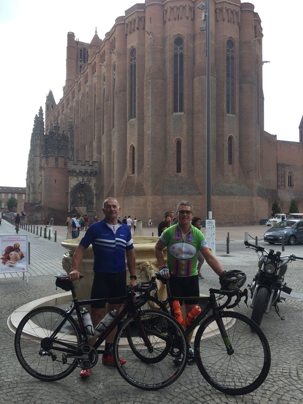 UCI Grand Fondo World Championships 17 in Albi France - Anthony Colantonio (BiciSport Master) teamed up with Peter Budd (Griffith CC) at the Albi Cathedral