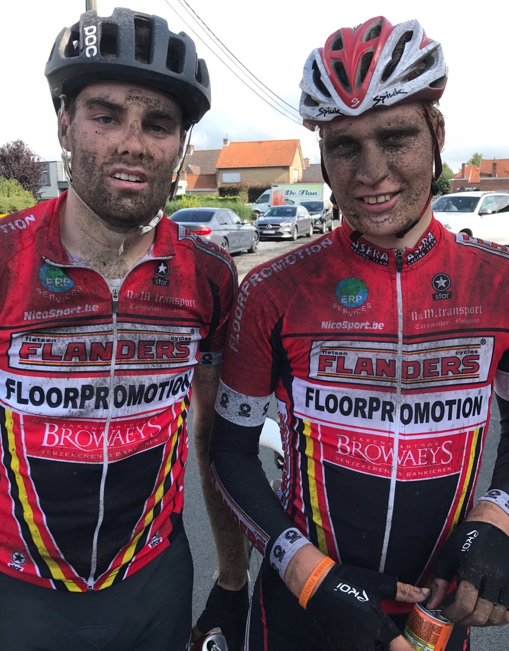 Tour of East Flanders 17 - Peter Livingstone & Oskari Vainionpaa (Finland) after the Stage 2 finish in Adegem.