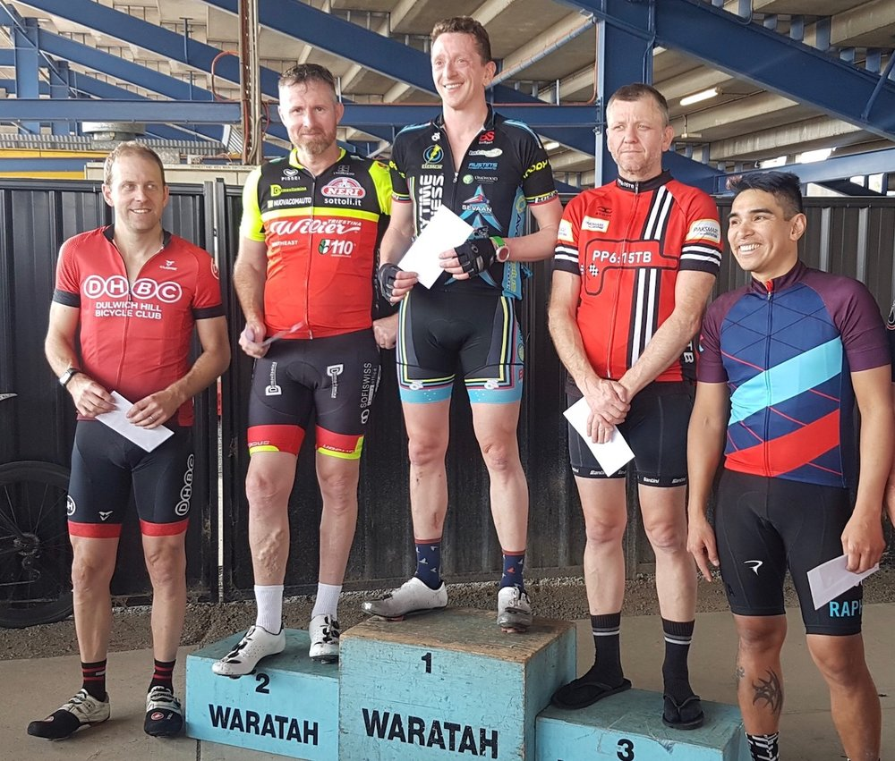 Eastern Creek Raceway (Waratah Masters) on 24 September - Tom Green (BiciSport) took a fine win in a 2 man breakaway.