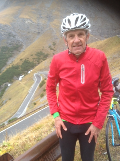 Stelvio 17 - Ian Grainger pictured near frozen on the Stelvio Pass some 8k from the summit. The ride was from Tirano up the valley to Bormio then the Stelvio Pass itself. Conditions were freezing at the summit (at just 1 degree)