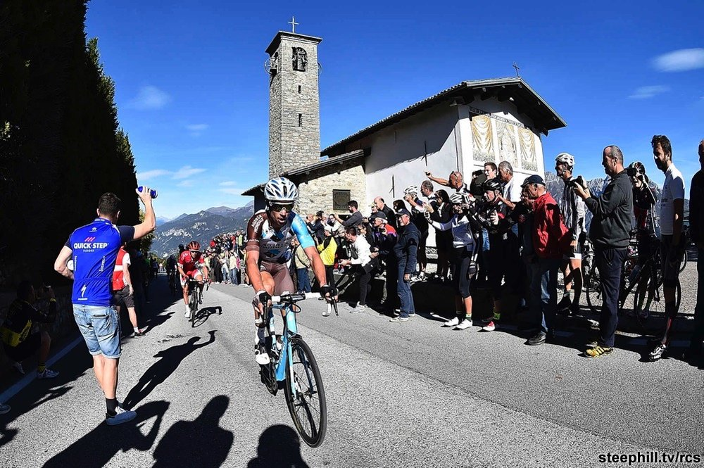 Lombardy 17 - The most picturesque Classic of the year is the Tour of Lombardy held around the shores of Lake Como in mid October, passing the Church of the Madonna Ghisallo
