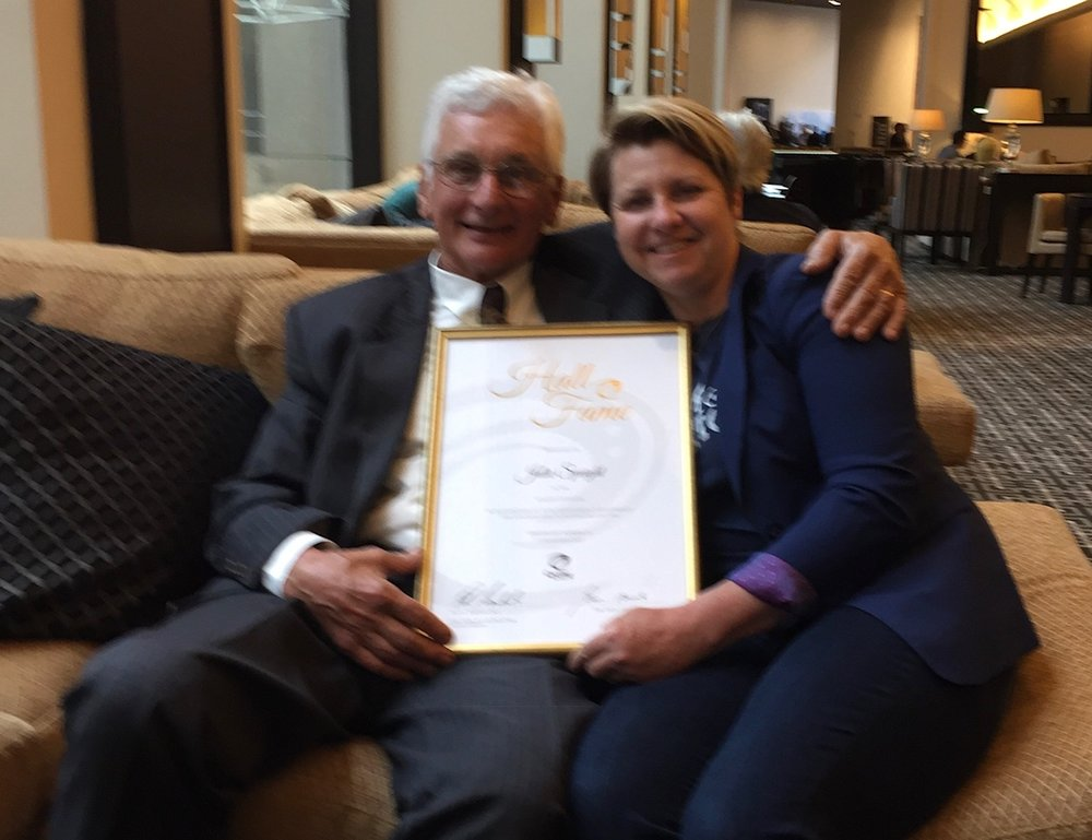 Cycling Australia Awards Presentation 17 - Julie Speight was inducted into the CA Hall of Fame at the recent Awards ceremony in Melbourne, and Julie was joined by her 1988 Olympic coach John Crouchley (current BiciSport Coach)