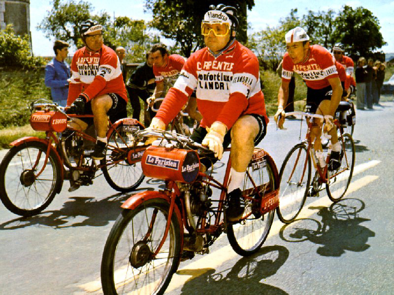 Derny 17 and Bordeaux Paris 1970 - Each professional rider chased their individual derny machine for the last 300 kilometres of the Bordeaux Paris Classic (total Bordeaux Paris distance was over 600 kilometres). The derny partially obscured on the right of this picture is a spare if either of the two lead dernys suffered a mechanical failure.