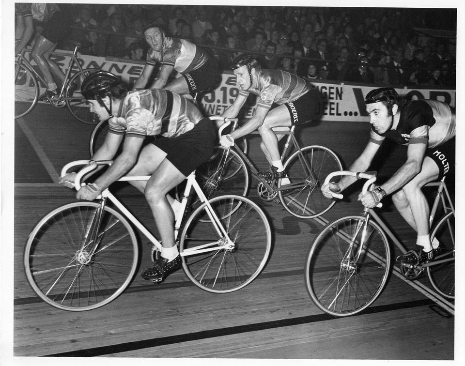 Ghent Velodrome Belgium from the early 1970's - A nice black & white pic of David Allan (Melbourne) leading Eddy Merckx with Graeme Gilmore (Tasmania) just to the right of Eddy.