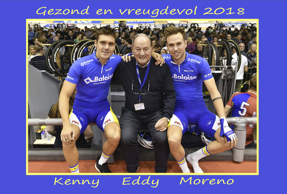 Long time BiciSport supporter Eddy Verbust wishes all BiciSport members a happy 2018. Eddy is on the Gent 6 Day organising committee and is pictured with event winners Kenny De Ketele & Moreno De Fauw.