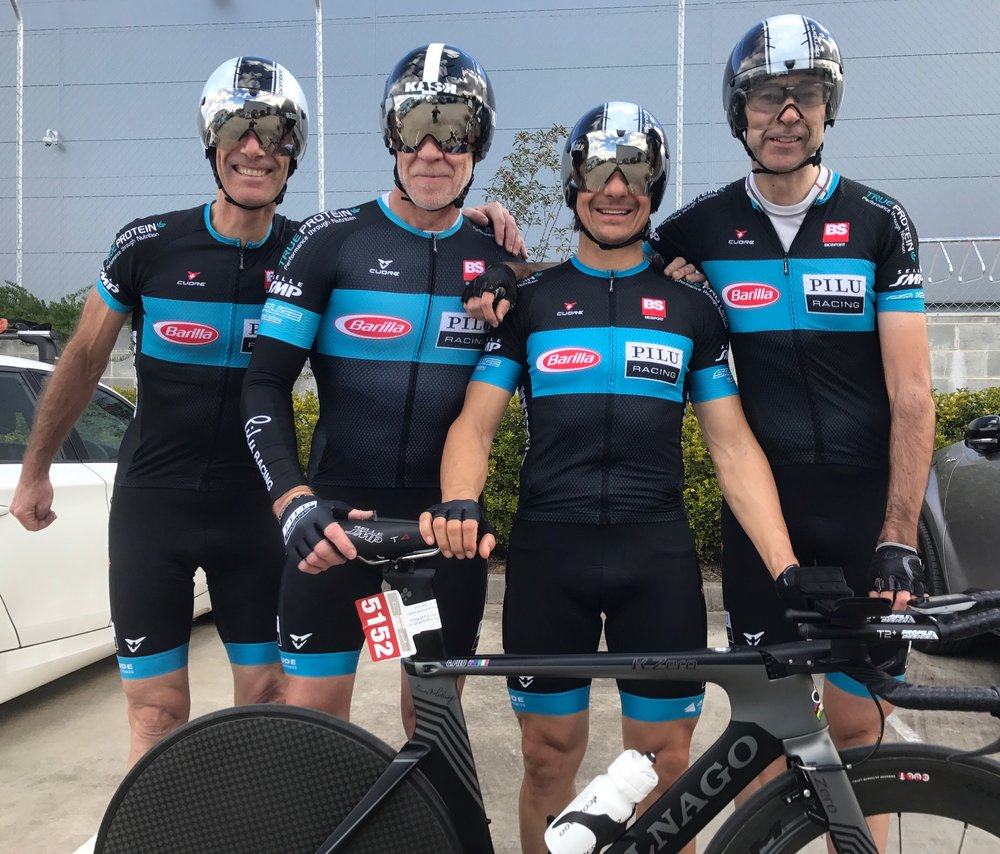 NSW Masters Teams Time Trial Championships at Nowra July 17 - An outstanding Gold medal in the 150+ category to Mike Foster, Matt Coy, Giovanni Pilu & Simon Lempriere