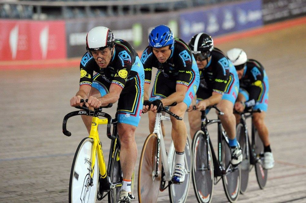 NSW Masters Teams Pursuit Championships February 14 - David Willmott, Geoff Baxter, Mike O'Brien and Mike Lawson