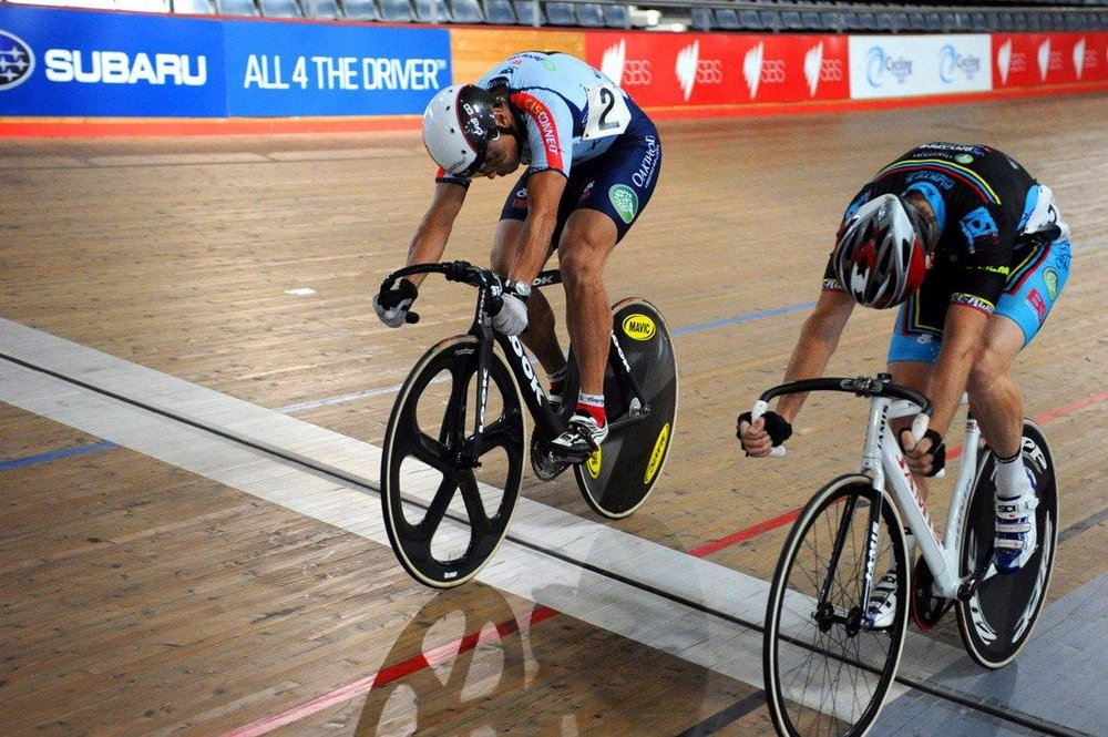 NSW Masters Track Championships February 14 - Peter Barnard & Geoff Baxter sprinting