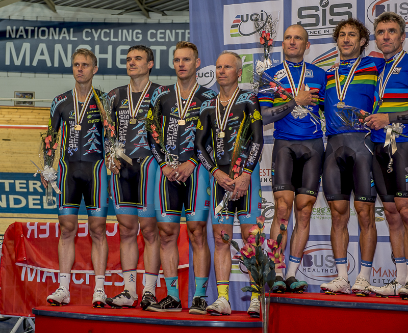 World Masters Track Championships October 15 - Silver medal podium (left to right) with Geoff Baxter, Matt Glanville, Andrew Patten & Jayson Austin