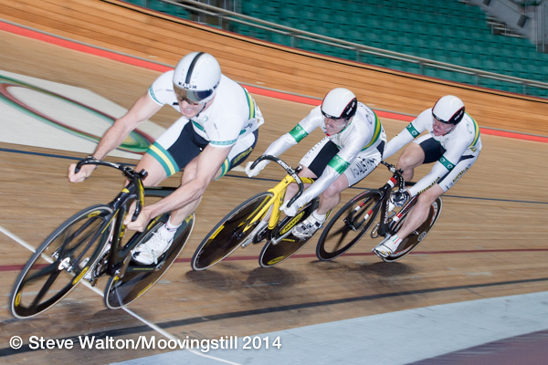 Manchester World Masters Track Champinships October 2014 - David Willmott (2nd in line) in the Team Sprint
