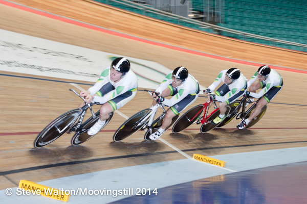 Manchester World Masters Track Championships October 14 - BiciSsport Teams Pursuit team took the Silver medal in the TP Final (3min 18.3secs v 3min 24.4secs). Left to right - Jays Austin, Alex Arancibia, Rick McArdle & Matt Glanville