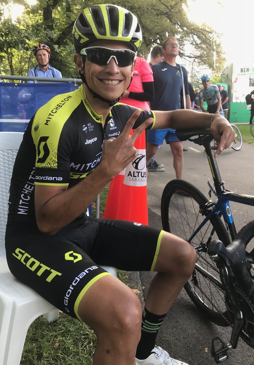 Herald SunTour 18 Prologue Time Trial - Melbourne Southbank .... the original Mr Happy Wheels is one Esteban Chaves who always carries a cheery smile (photo MO'R)