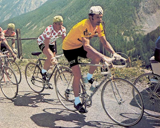 Tour de France 1975 - Bernard Thevenet leads the Tour on a Peugeot PY-10