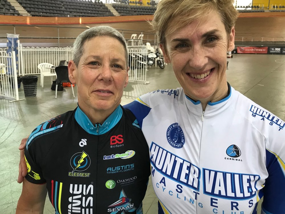 NSW Masters Track Championships 18 at DGV - Lise Benjamin (Sprint - Silver Medal) with Anna Whitton (Sprint - Gold Medal). Lise set a W7 World Best Time in the 200m qualifying at 13.038secs.