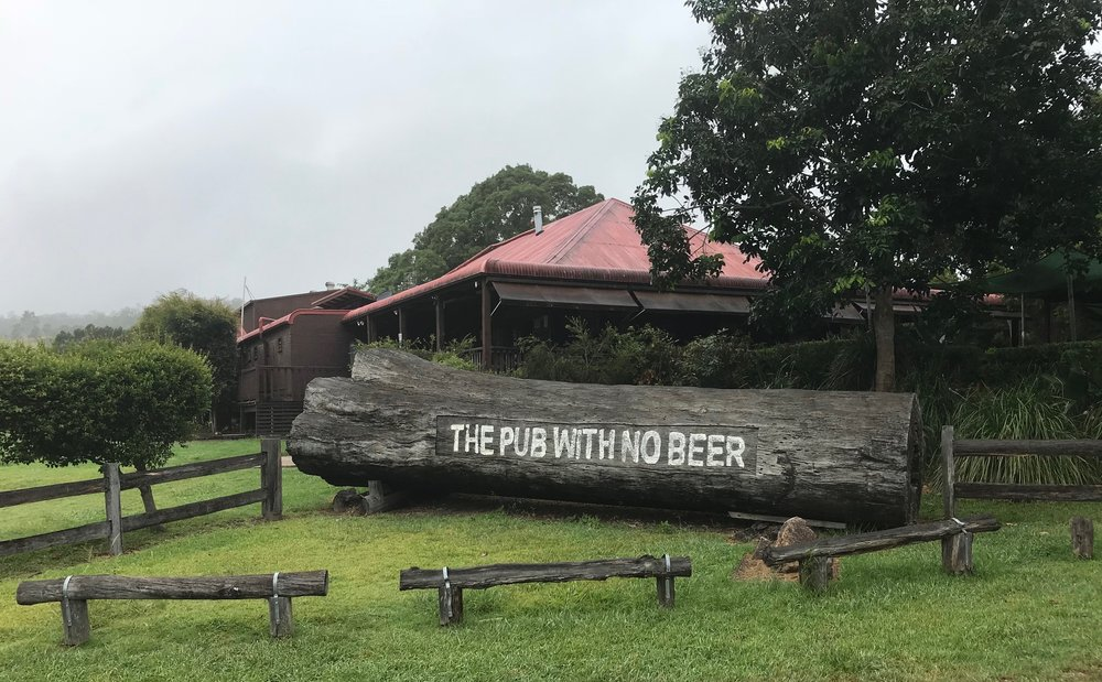 BiciSport Tour de Bello 18 Training Camp - doing a course recce for TdB 18 some 40k outside Macksville at Taylors Arm out the back of nowhere ... both Alex Simmons & Mike O'Reilly came across this nice piece of Australiana. The Pub with No Beer was equally rustic inside.
