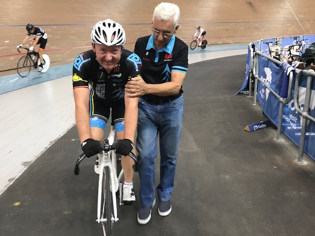 National Masters Track Championships 18 @ Melbourne - Graham Cockerton finished 5th in the M5 Pointscore assisted by John Crouchley after the finish