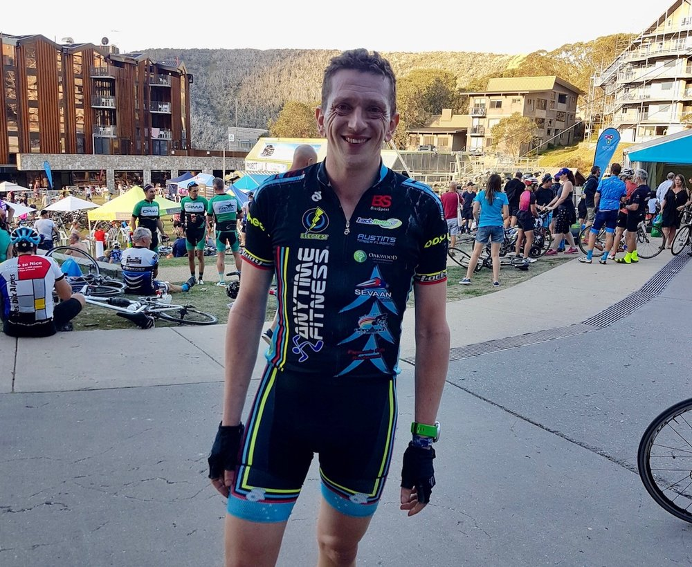 Three Peaks Challenge 18 - Tom Green (BiciSport) after the finish at Falls Creek