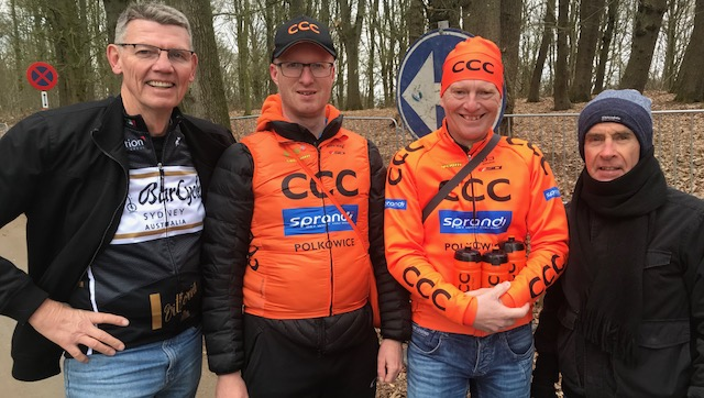 BiciSport in Flanders @ 21 Mar - at the De Panne Classic on top of the Kemmelberg with the CCC Team support crew. Brian Sprouster & Mike Lawson